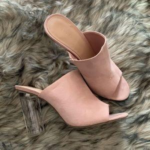 Pink slip on heels